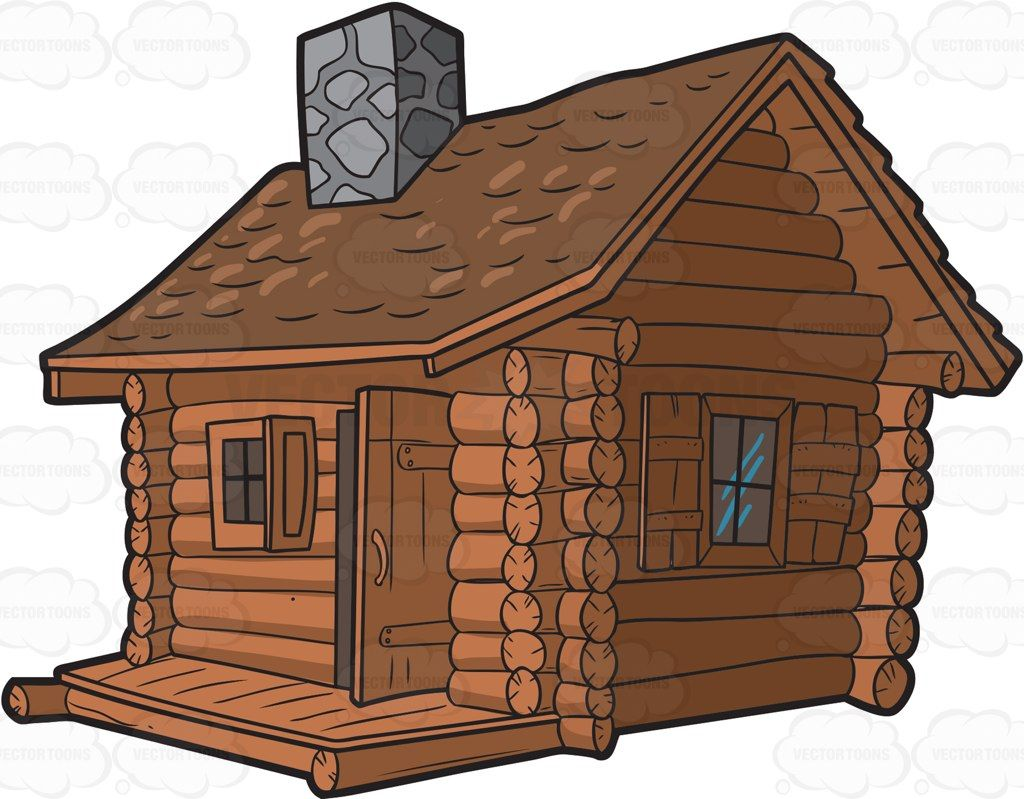 Cottage clipart rustic cabin. A log with chimney