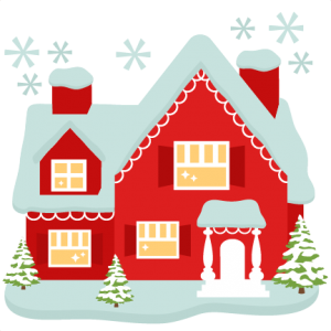 Santa s house cut. Cottage clipart silhouette jpg black and white library