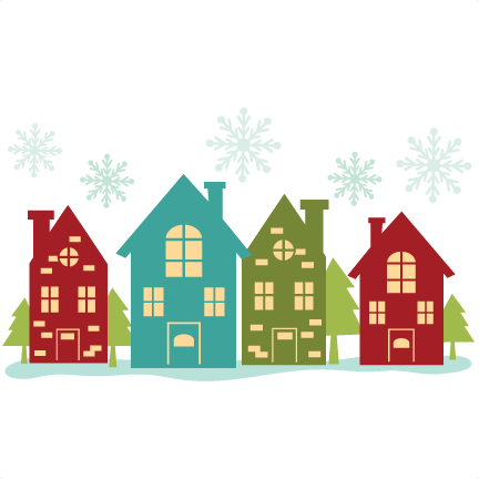 Christmas house border svg. Cottage clipart silhouette black and white