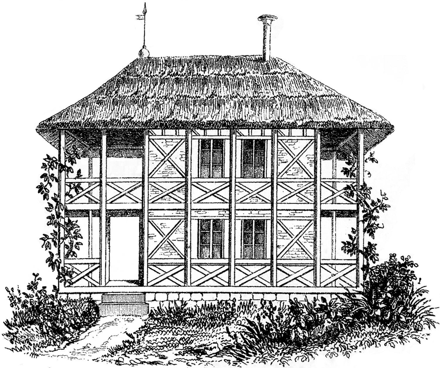 Cottage clipart straw roof. Vintage image thatched the