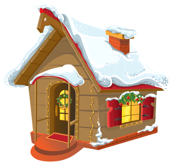 Christmas house png image. Cottage clipart winter png
