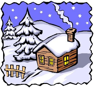 First day of folk. Cottage clipart winter banner free