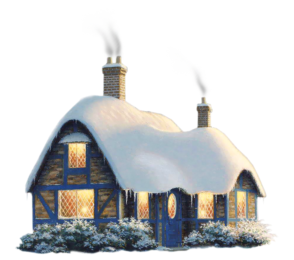 Transparent snowy house png. Cottage clipart winter graphic black and white