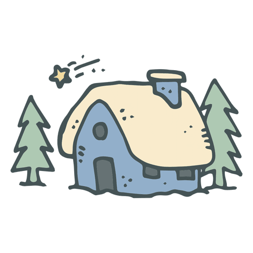 Cottage vector. Blue snowy hand drawn