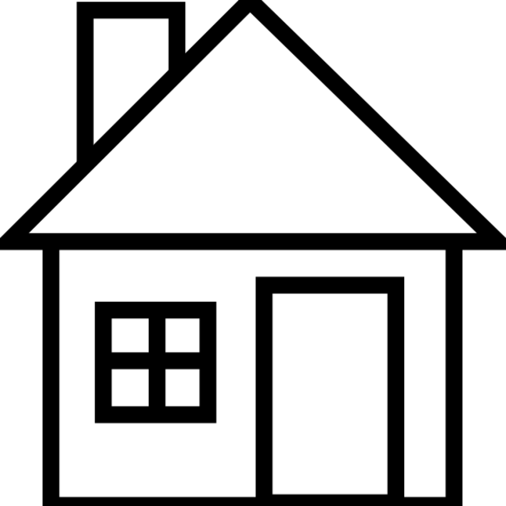 Cottage vector clipart. White house transparent outline