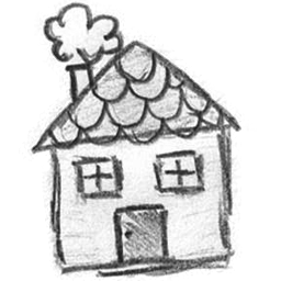 Cottage vector hand drawn. Icons by aleksandra