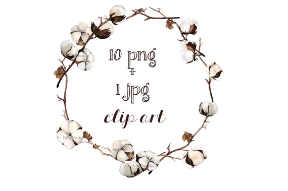 cotton clipart cotton wreath