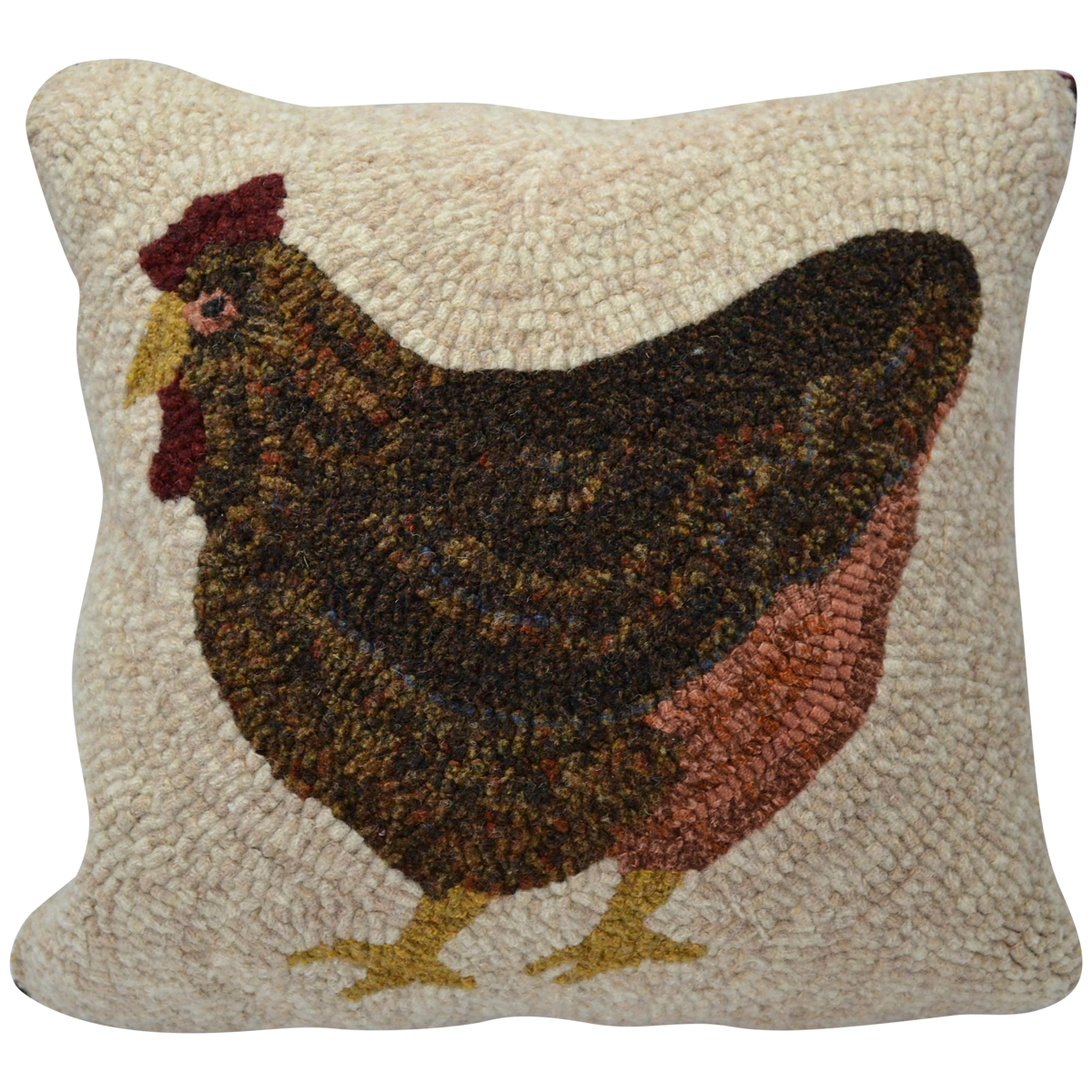 Couch pillow png. Laying hen hooked decor
