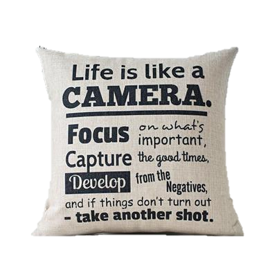 Couch pillow png. Life quote camera throw