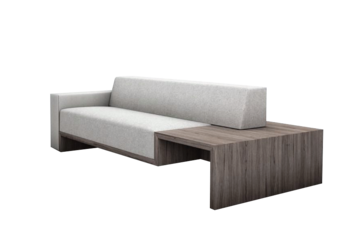 Couch side png. Wooden cotton two seater