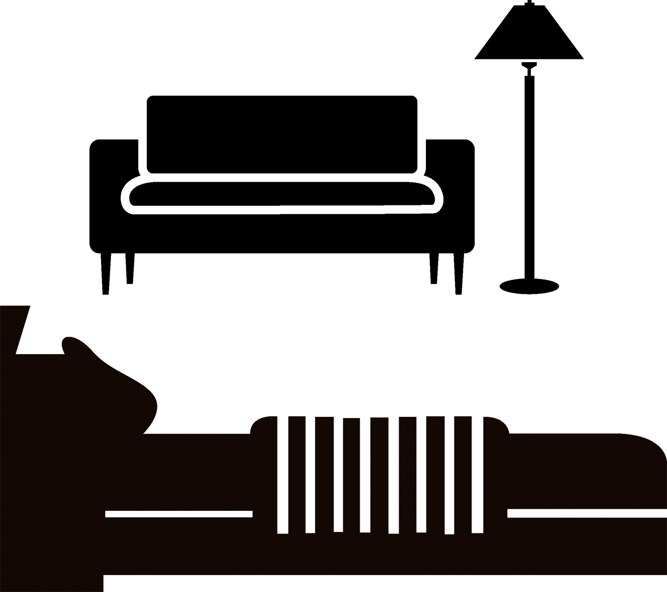 Couch silhouette png. Bed furniture sofa transprent