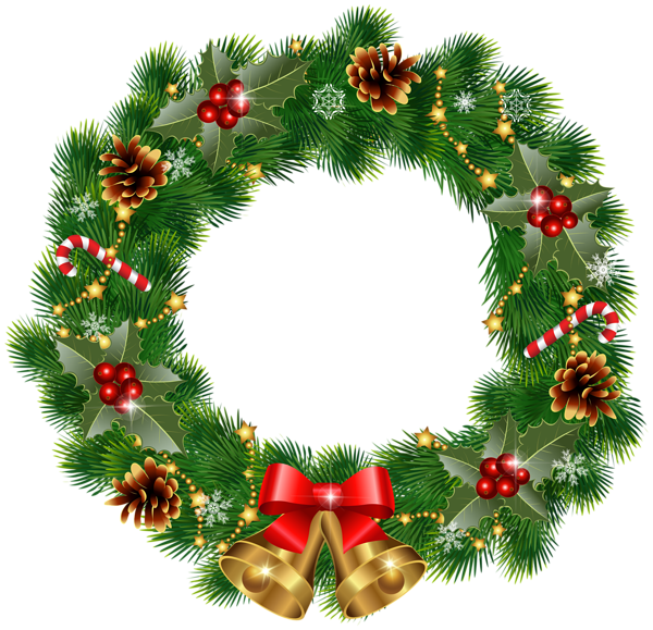 Country christmas wreath png. With bells clipart image
