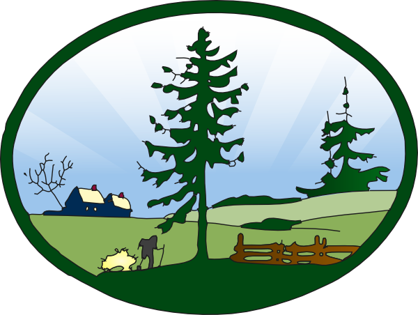 Country scene clip art. Land vector countryside picture black and white stock