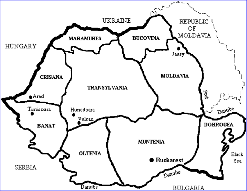 Country drawing. A map of romania
