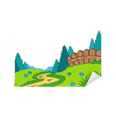 Country landscape png. Cartoon wall mural pixers