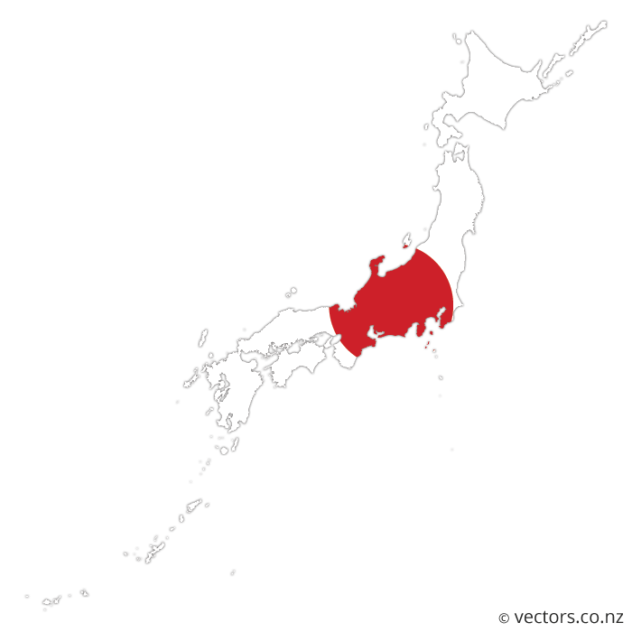 Asia vector map. Flag of japan vectors