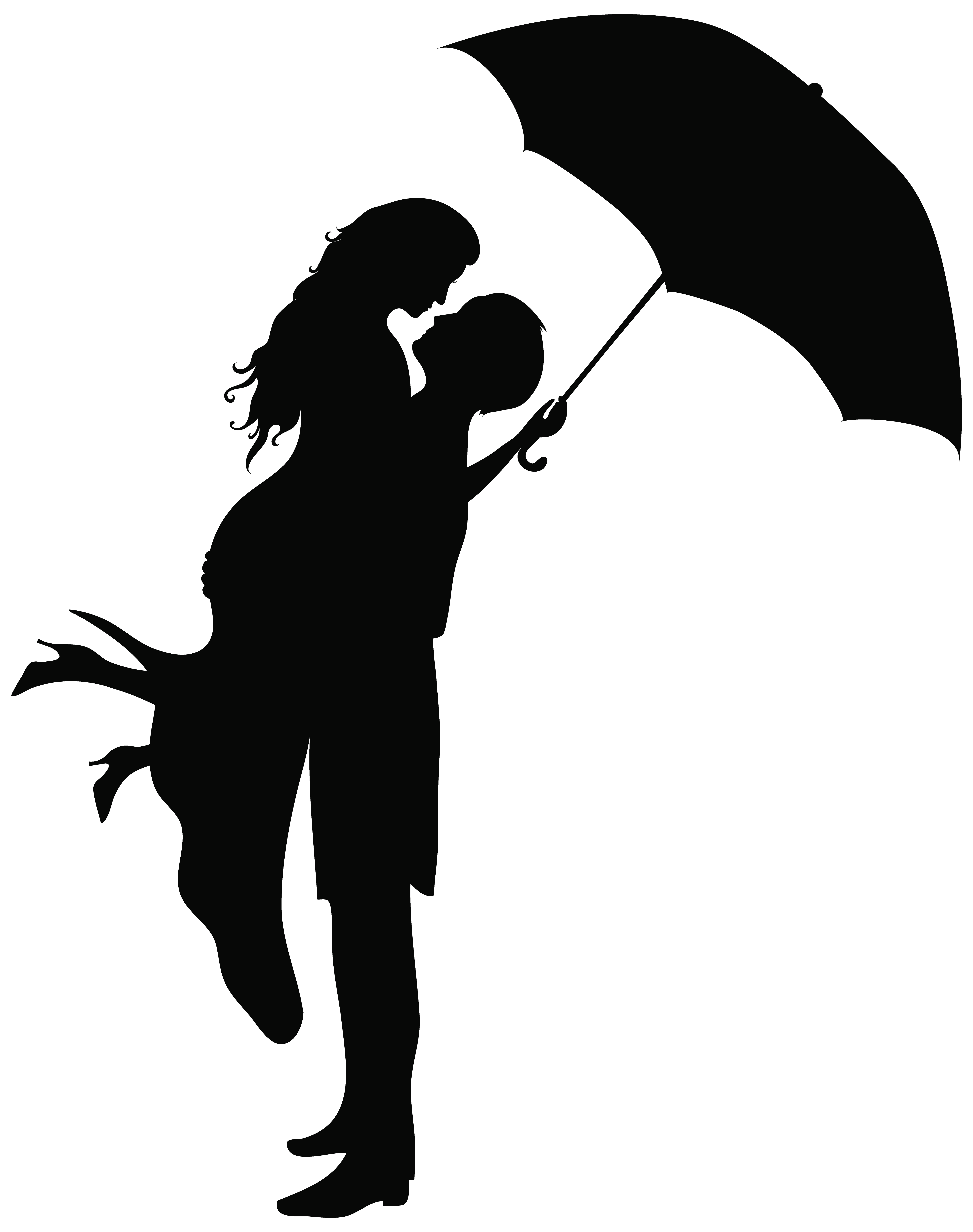 Couple silhouettes png art. Romantic clip black and white stock