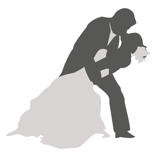 Wedding couple dancing silhouette