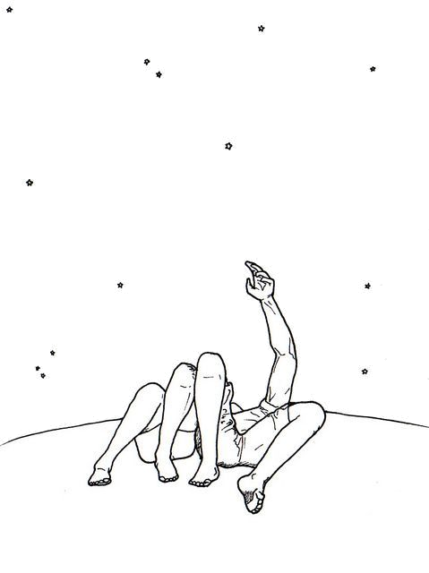 Couple drawing png. A perfect moment nighttime