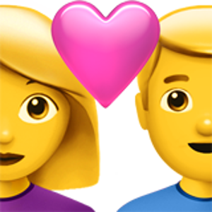 Couple emoji png. With heart woman man