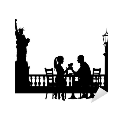 Couple having dinner silhouette png. Romantic in new york