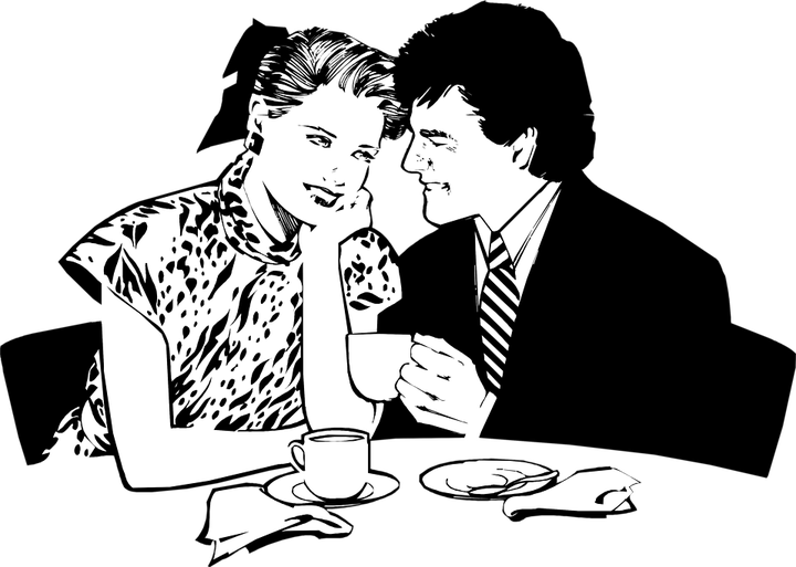Couple having dinner silhouette png. The red letter art