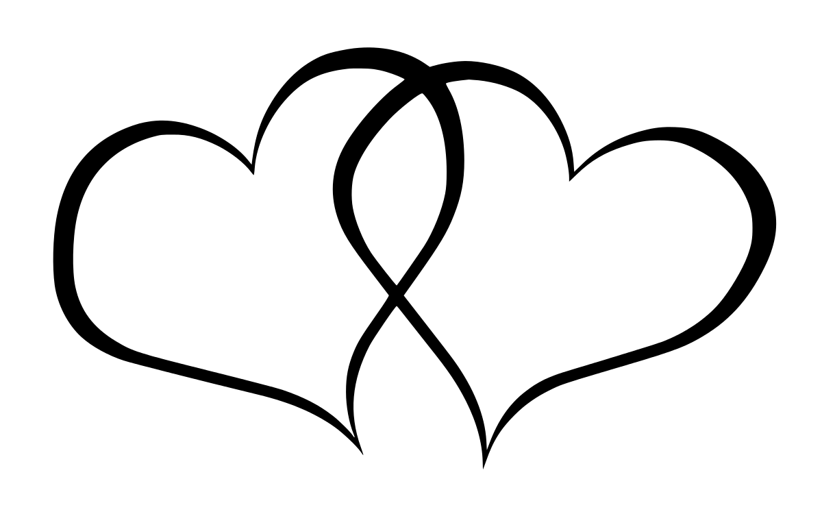 Couple heart png. Outline transparent stickpng