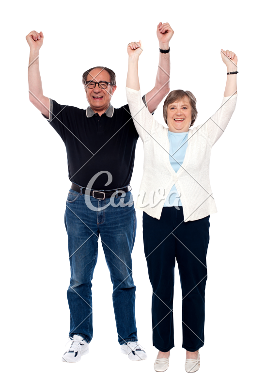 Couple posing png. Excited aged photos by
