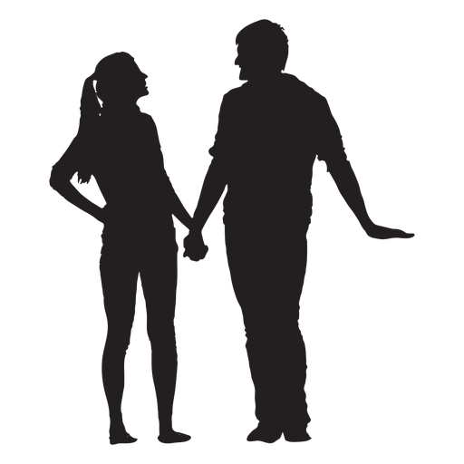 Couple silhouette holding hands png. Talking and transparent svg