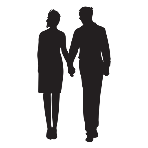 Couple silhouette holding hands png. Standing transparent svg vector
