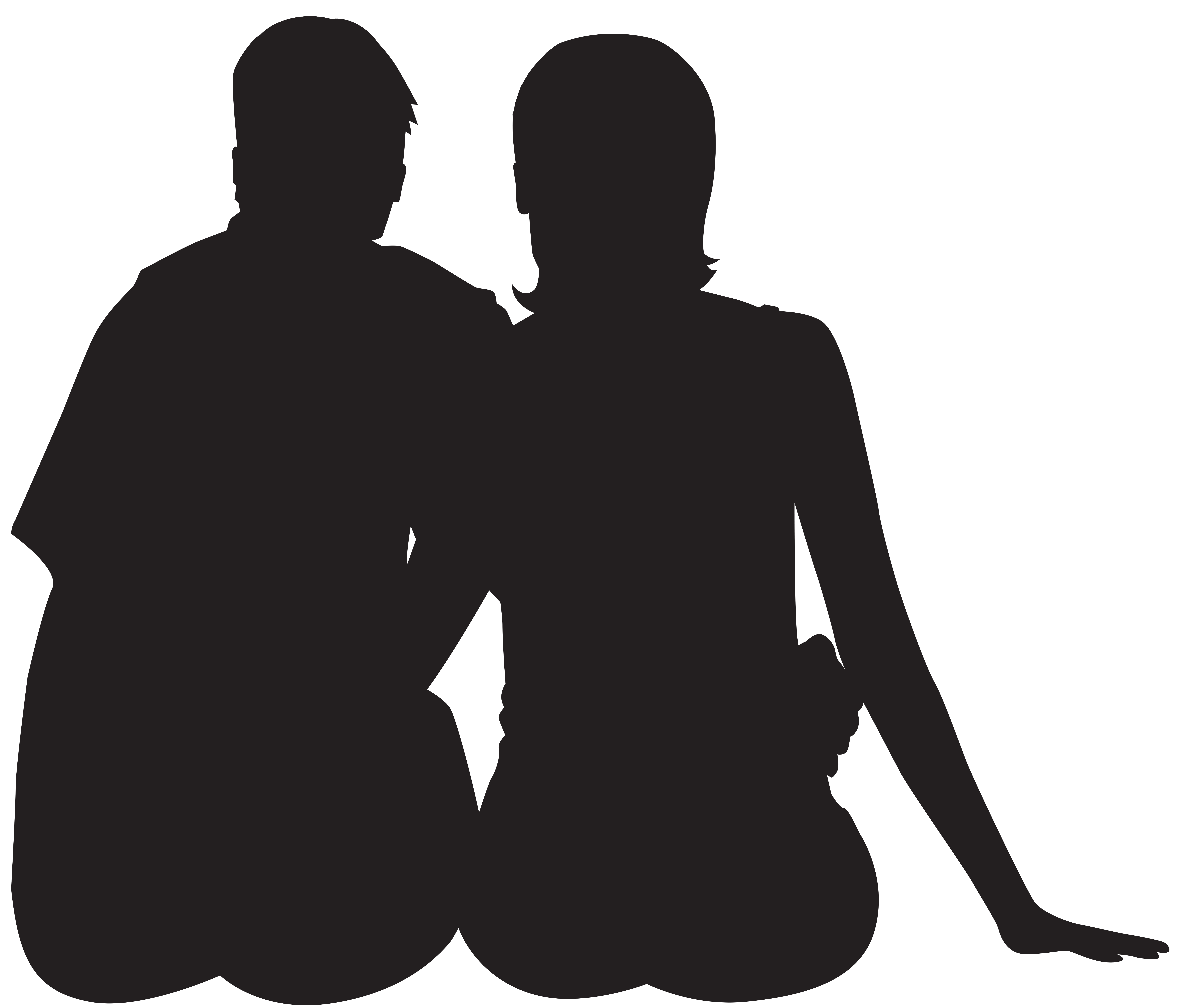 Couple silhouette png. Sitting clip art image