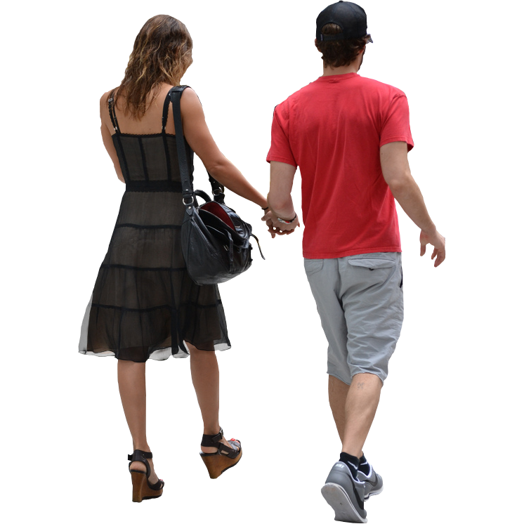 Couple walking png. Back view of away