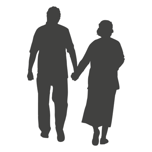 Couple walking silhouette png. Transparent svg vector old