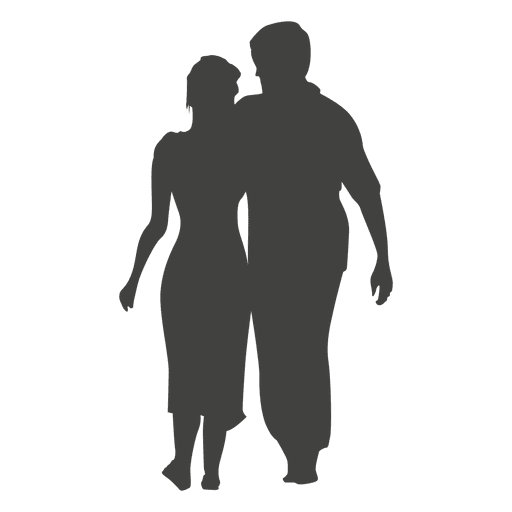 Couple walking silhouette png. Transparent svg vector
