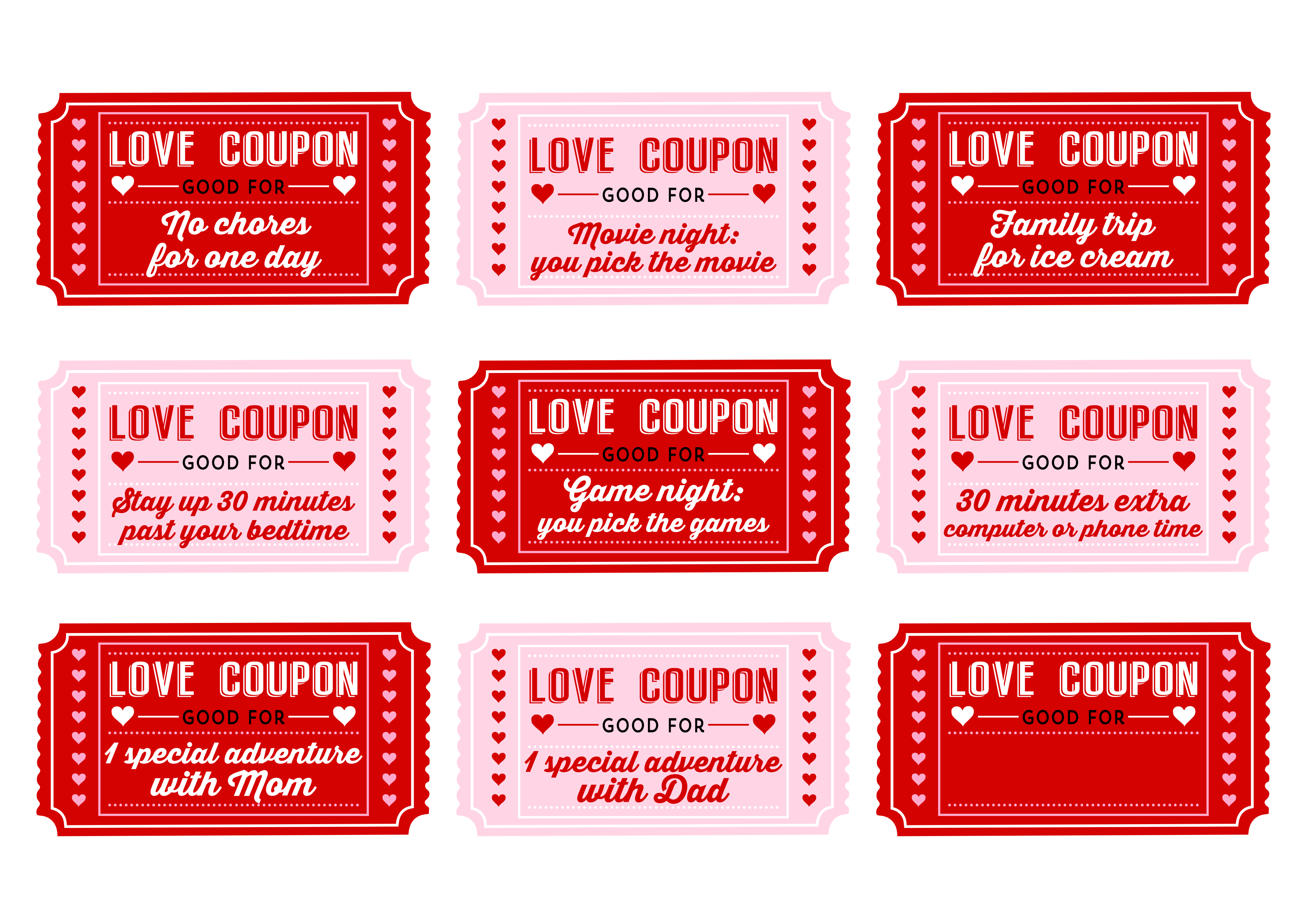 Coupon red png. Love coupons for kids