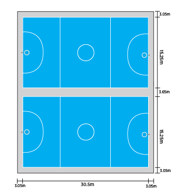 Shooting drawing netball. Double court layout