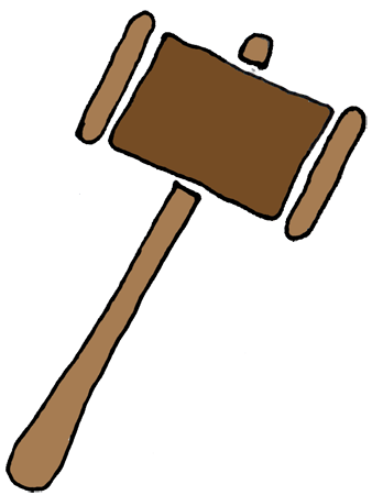Court drawing mallet. Collection of free gabbled