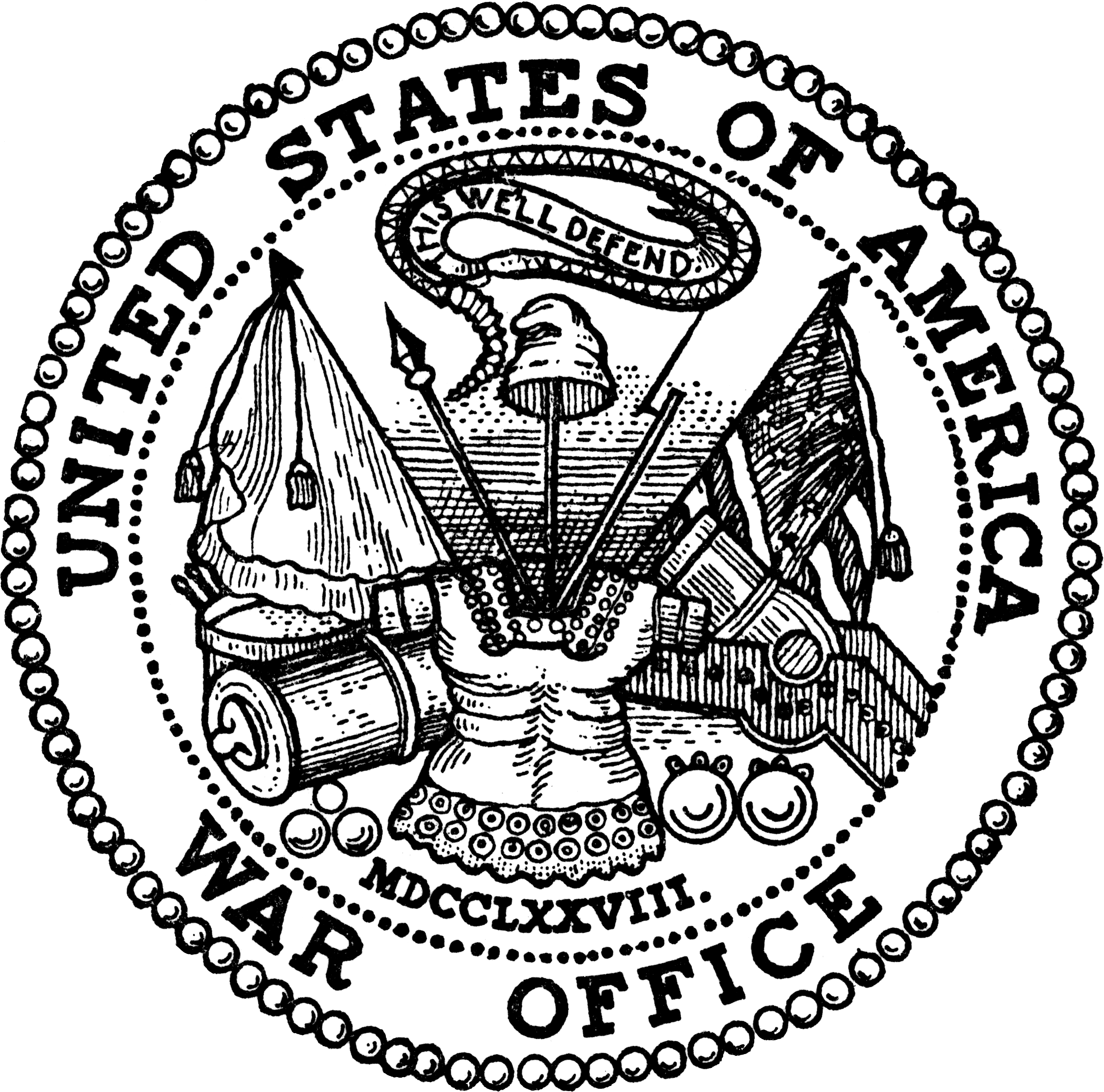 United drawing black and white. States secretary of war