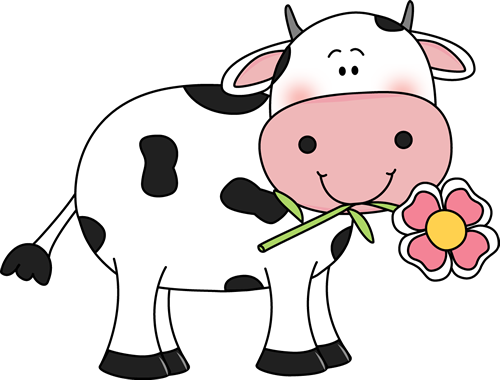 Drawing cow flower. With a in its