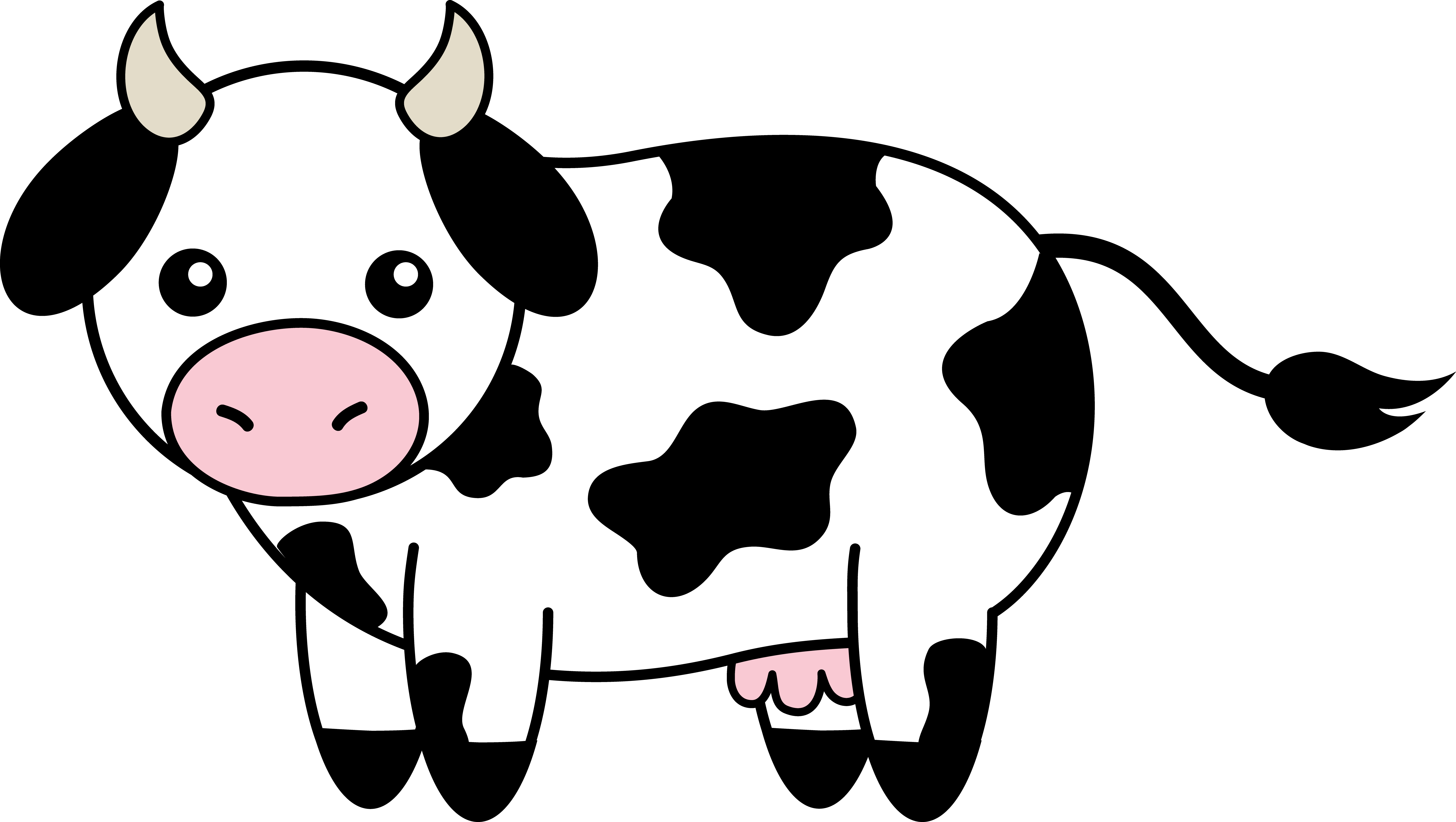 Cow clip art simple. Clipart black and white