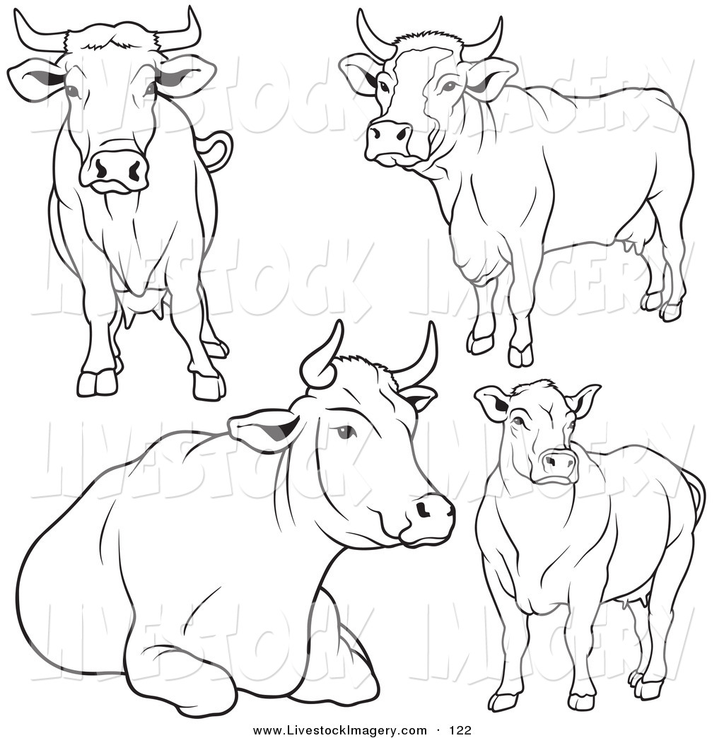 Cow clip art black and white. Of a digital set