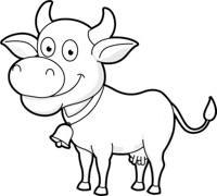 Cow clip art black and white. Free animals outline clipart