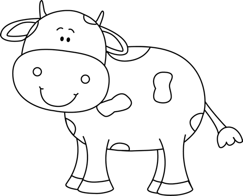 Cow clip art black and white. Coloring animals pinterest