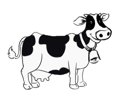 Cow clip art black and white. Clipart
