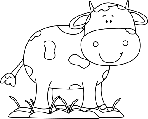 Cow clip art black and white. In the mud