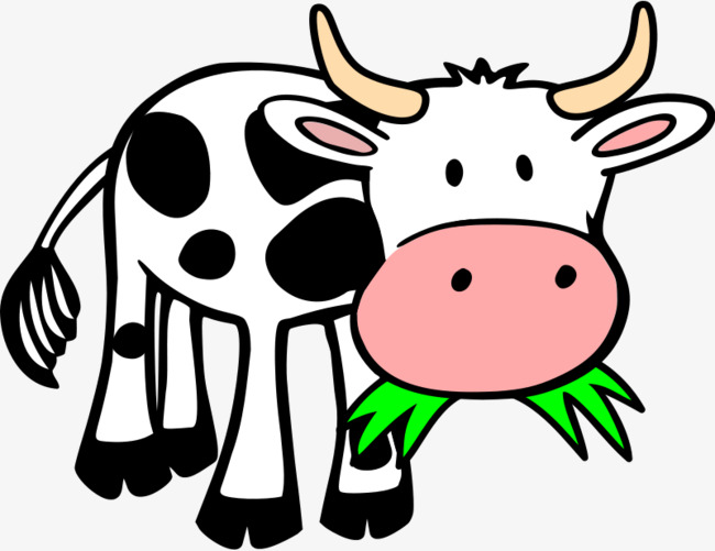 Cow clip art cartoon. Dairy cattle graze png