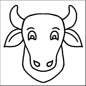 Cartoon animal faces b. Cow clip art face image black and white