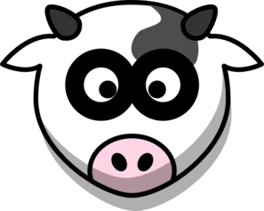 Cow clip art face. Head with shadow at