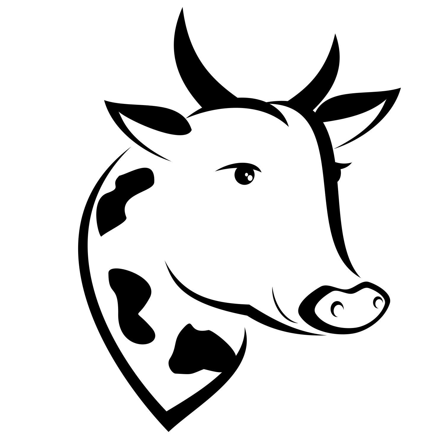 Cow clip art logo. Black head silhouette at