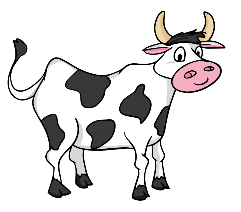 Cow clip. Clipart black and white
